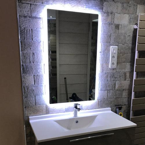 Vasque et miroir retro-éclairé